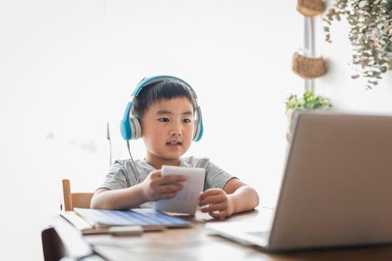 Boy enjoys learning