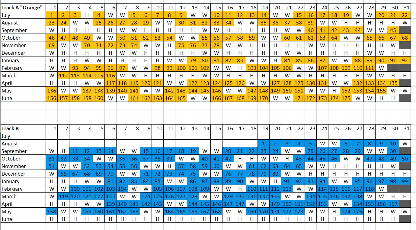 track calendars 2019-20